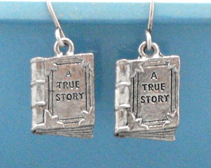 True Story Book Earrings Dangle Bookish Readers Literary Jewelry