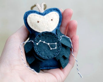 Embroidered Owl Constellation Ornament Felt, Big Dipper URSA MAJOR, Astronomy Gift Galaxy Christmas Ornament Plush by OrdinaryMommy on Etsy
