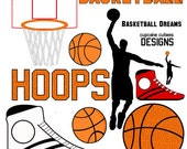 Basketball Dreams Digital Clip art collection 12 Elements- Instant Download