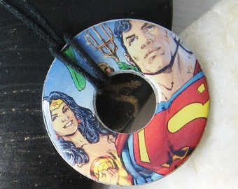 SUPERMAN and Wonder Woman Justice League Upcycled Papers Washer Pendant Necklace DC Comics