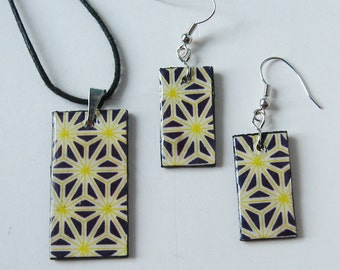 SALE SET  Black Yellow Star Wood Rectangle Pendant Necklace Earrings