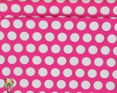 1 yard Knit Pink princess dots
