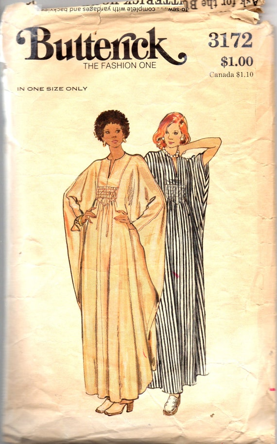 Butterick 3172 1970s Misses Shirred Batwing Caftan By Mbchills