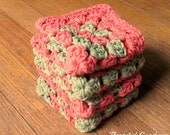 4 Crochet granny square dishcloths, coral and green wash cloths, retro kitchen decor, soft and durable cloths