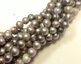 """CLEARANCE Full Strand mixed deep grey Freshwater Pearl-- 5-6mm 15"""" 70pc round potato pearls---SALE #RS2025"""