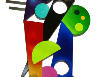 Colorful Contemporary Modern Geometric Abstract Shapes Painted Wood Wall Sculpture w/Metal 26x25