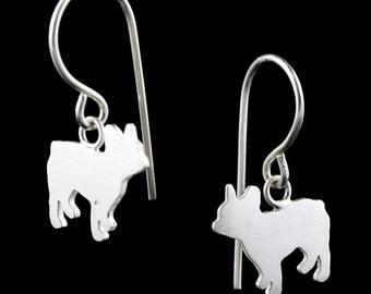 French Bulldog Sterling Silver Silhouette Dangle Earrings