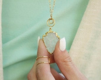 Arrowhead necklace- 24kt gold dipped quartz arrowhead necklace with gold fill chain