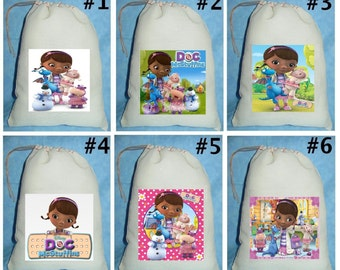 12 Doc McStuffins birthday party favor loot treat drawstring bags