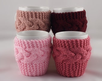 Set of 4 Hand Knit Coffee Mug Cozy Coaster Your Choice Of Colors Save 8.00 with this pack of 4