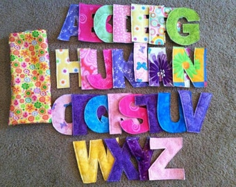 Fabric Alphabet Letters with Pouch, Learning Game or Toddler Toy