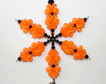 Halloween Snowflake Sun Catcher Ornament Skeleton Charm Black Orange Acrylic Beads For Indoors or Outdoors with Skeleton Charm  - #39