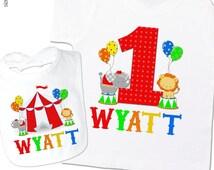 First birthday shirt boy or girl circus personalized Tshirt or bodysuit and circus bib matching set