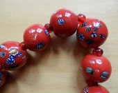 Vintage Painted Glass Necklace - SALE PRICE