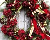 Large Burgundy Christmas Wreath, Holiday Wreath for Door, Victorian Wreath Burgundy and Gold Wreath