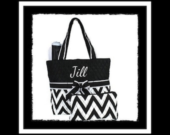 Diaper Bag - Monogram Quilted Bag Chevron Personalized Diaper Bag, Baby Shower Gift, Travel, Tote, New Mom