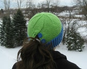 Ponytail Pony Tail Knit Hat Green Blue Youth Girls Teen Women - READY TO SHIP