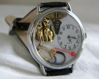 Veterinarian Watch with Two Cats Or Vet Tech