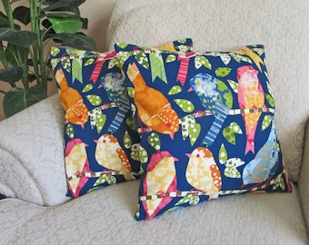 Bird Pillow Covers, Blue Abstract Bird, Decorative Sofa Cushion Covers, Yellow, Green, Orange, Blue Pillow Covers - Set of Two - 16 x 16