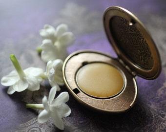 Cimbalom Natural Solid Perfume Mini Compact - Hawaiian Jasmine, Patchouli and Amber - Organic Exotic Pikake Fragrance