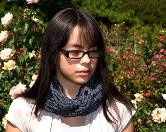 Black Shimmer Infinity Scarf Perfect for Fall or Winter