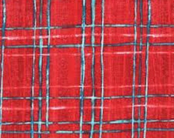 Laura Gunn Fabric Skinny Plaid  in Red 1/2 Yard From The Cosmos Collection