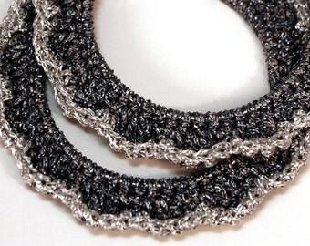 "Crochet Ruffled Hoop Earring 2 "" Gray and Silver"