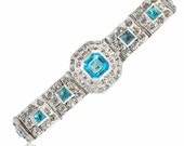 Rhinestone Art Deco Bracelet Aquamarine Crystal Silver 1920s Antique Art Deco Jewelry Bridal Bracelet
