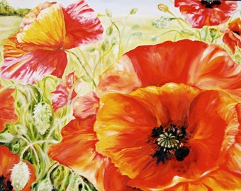 Oil Painting, Original, Large Painting, Poppies, Flower