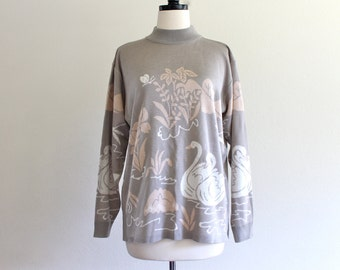 80s Knit Muted Duck Pond Sweater Shirt Blouse Top . ML . D235 . No.542.10.15.13