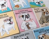 Bulldog Valentines - Candy Colors - Mini Eco-friendly Set of 8