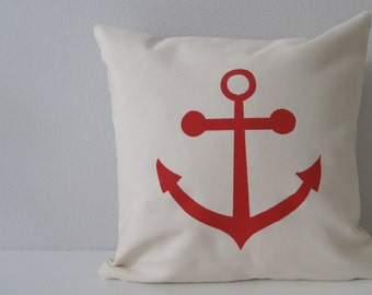 Pillow Cover Cushion Cover - Anchor design  - 12 x 12 inches - Choose your fabric and ink color - Accent Pillow