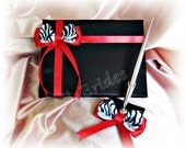 Red and black zebra weddings guest book and pen set, animal print wedding accessories