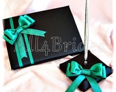 Wedding Guest Book Jade and Black, wedding sing in book and pen set