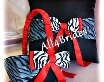 Black and Red Zebra Wedding ring bearer pillow and flower girl basket, zebra wedding accessories, red and black wedding