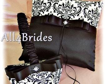 Damask Wedding Pillow and Basket, Madison Damask  Wedding Flower Girl Basket and Ring Bearer Pillow Black and White Ceremony Decor