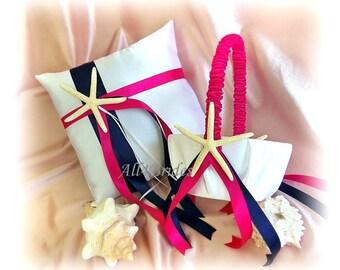 Navy Blue and Fuchsia Pink Starfish  Beach Wedding Ring Bearer Pillow and Flower Girl Basket