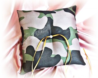 Camo wedding ring bearer pillow - Camouflage satin ring cushion - woodland or military wedding -