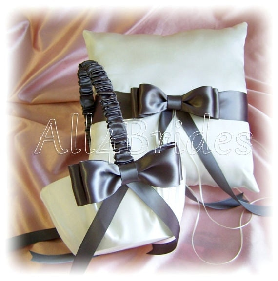 Wedding Flower Girl Basket and Ring Pillow  Dark Grey Pewter Wedding basket and ring cushion set