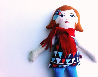 Cloth Doll Rag Doll with Red Hair, Red Scarf READY to SHIP