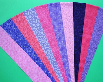 Fabric Pink Purple Cotton Jelly Roll Quilting Strip Pack Material Die Cut 20 Strips (sku JR210-PIPUgd)