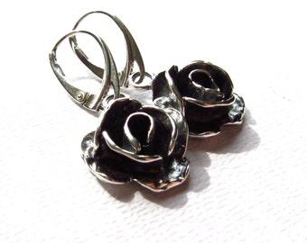 Oxidized Flower Earrings, Sterling Silver Metalwork, Rose Earrings, Black contrast, Modern Jewelry