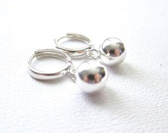 Ball drop earrings on secure closing hoops, sterling silver earrings