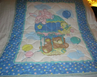 Handmade Baby Air Balloon With Animals Reversible Cotton Baby/Toddler Quilt- NEWLY MADE