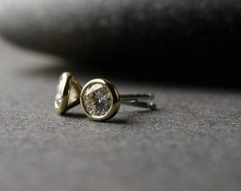 Bezel set 18k yellow gold and round brilliant cut Moissanite stud earrings 4mm .50 carat tw