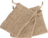 "2"" x 3""  Natural Raw Hessian Jute Burlap Bags with Drawstring Option (50 - 100) Select"