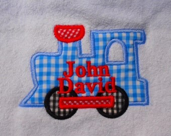 Baby Bib and Burb Cloth, Boutique Custom Monogrammed Personalized Train