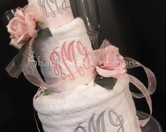 Towel Cake - Custom Monogram - 3 Tiers - Etched Champagne Flutes - Wine Glass Charms for Wedding, Bridal Shower, or Anniversary