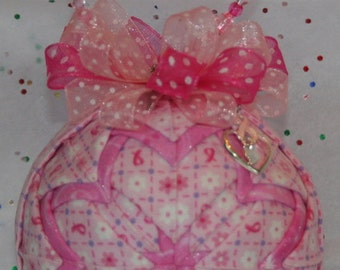 Quilted Ornaments Quilt Ball Ornaments Breast Cacer Pink Ribbons Karen Neuberger Heart Charm Handmade Beaded Hanger