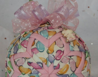 Quilted Ornaments Quilt Ball Ornaments Longaberger Jelly Beans Easter Spring Handmade Beaded Hanger Bunny Charm